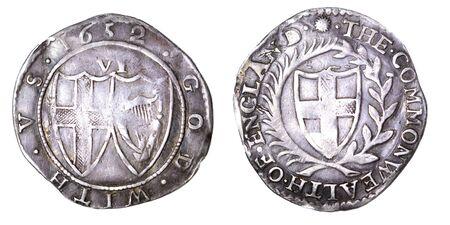 Gemeinwesen sixpence von 1652 Herrschaft von oliver cromwell Lizenzfreie Bilder