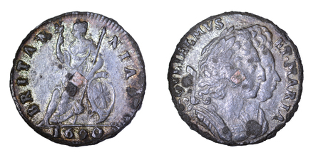 Zinn Farthing mit Kupfer Stecker of William and Mary