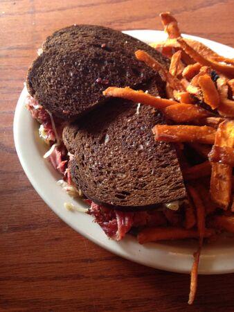 reuben: Reuben sandwich with fries