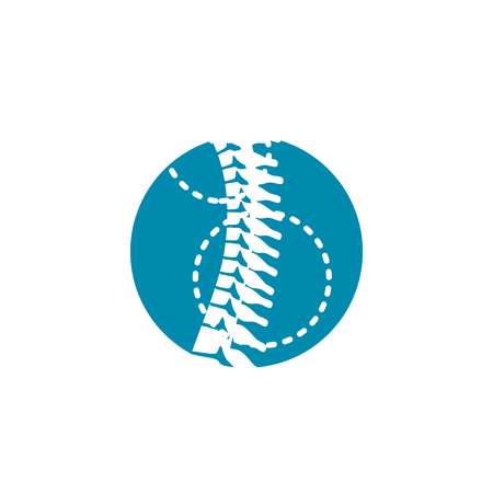 Spinal column orthopedic icon with circle icon Stock Vector - 93679483
