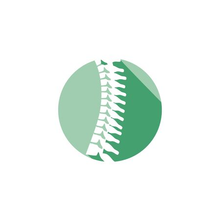 Spinal column orthopedic icon with circle icon