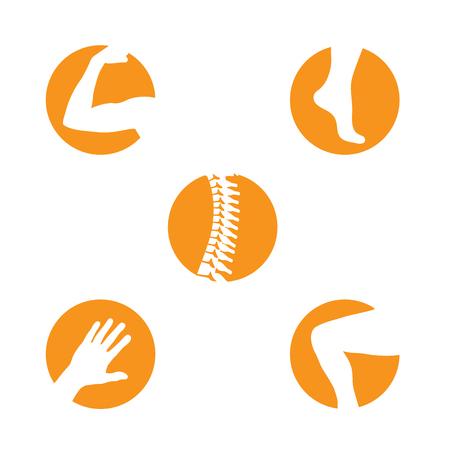 Set van orthopedie pictogrammen met wervelkolom, knie, hand, voet en arm icon set