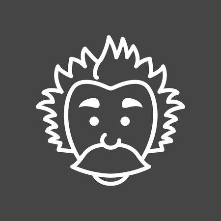 Cute Mad Scientist Einstein Logo icon with big mustache Ilustração