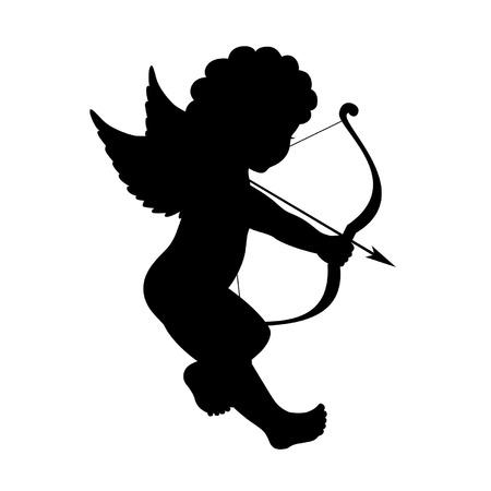 black vector silhouette of a cupid shooting arrow Vector