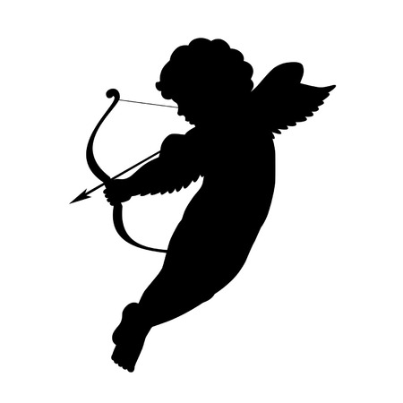 cupid: black vector silhouette of a cupid shooting arrow