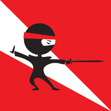 vector cartoon of cute ninja fighting with a sword