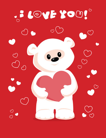 valentine s day teddy bear: Vector greeting card with white teddy bear holding heart on a red background  I love you