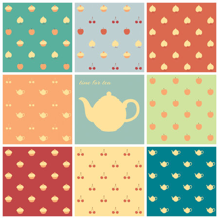 Eight retro seamless patterns pastel colors Vector