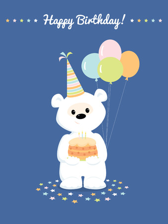 plushy: Cute white teddy bear with birthday cake and balloons