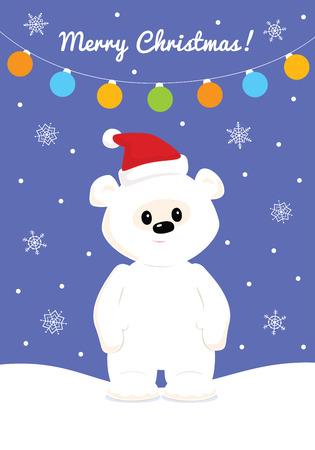 snowbank: Christmas card with baby polar bear