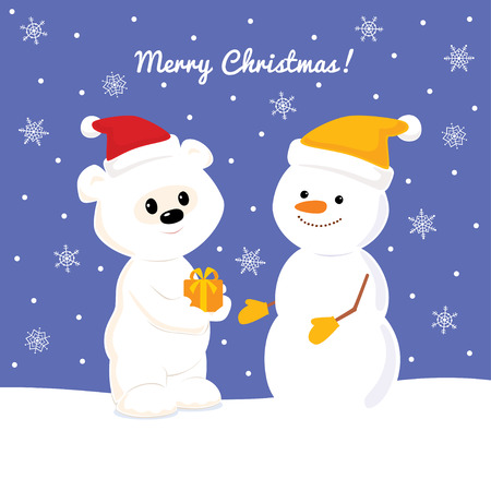 snowbank: Christmas card with baby polar bear and snowman
