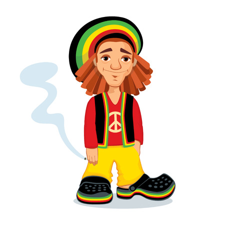 Illustration of a Rastafarian guy holding a joint