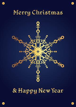 affluence: Elegant golden snowflake on a deep blue background. Christmas card, jewellery theme, luxury style.