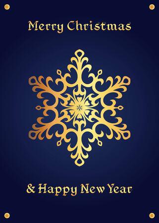 Elegant golden snowflake on a deep blue background. Christmas card, jewellery theme, luxury style.