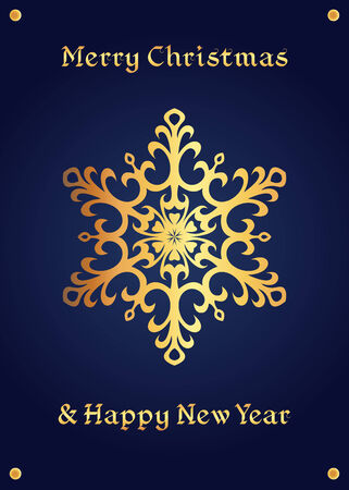 Elegant golden snowflake on a deep blue background. Christmas card, jewellery theme, luxury style.