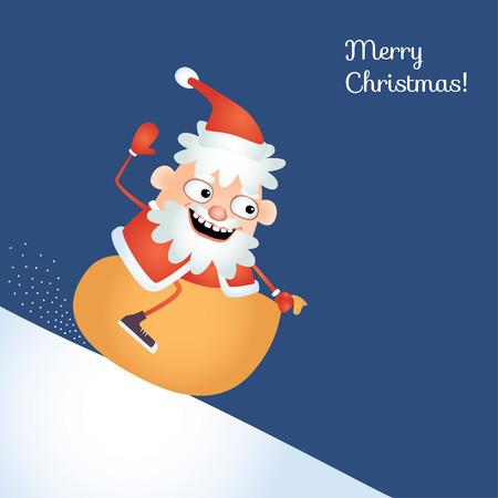 eccentric: Comical illustration of eccentric Santa Claus sledding down a snowy hill astride his sack. Christmas card.