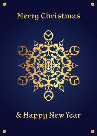 chivalrous: Elegant golden snowflake on a deep blue background. Christmas card, jewelery theme, luxury style.