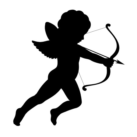 angel illustration: black vector silhouette of a cupid shooting arrow