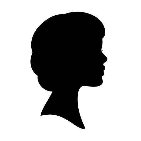 Vecteur noire silhouette de profil du visage de femme. Ondulés coupe de cheveux bob.