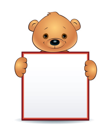 child holding sign: Illustration of a cute cartoon teddy bear holding a blank square sign.