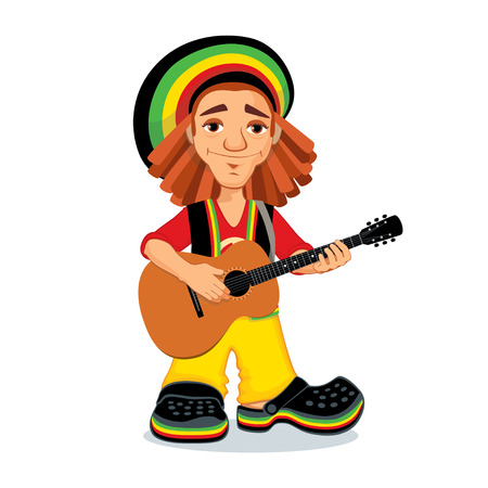 guy playing guitar: Vector illustration of rastaman playing acoustic guitar. Cute cartoon rastafarian guy with dreadlocks wearing red shirt, yellow pants, black west and rasta hat. Isolated on a white background.