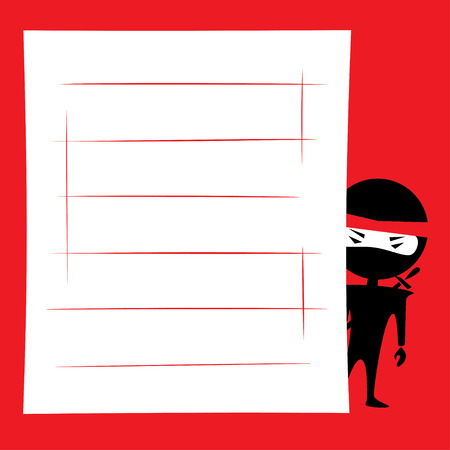 Vector illustration of cartoon ninja hiding and spying. Place for text on a white background. Red, black and white colors.