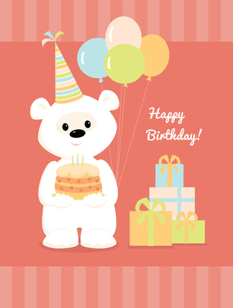 torte: Vector illustration of a cute cartoon white teddy bear with birthday hat, cake and balloons standing near a pile of presents and smiling. Greeting card Happy Birthday in pastel colors. Illustration