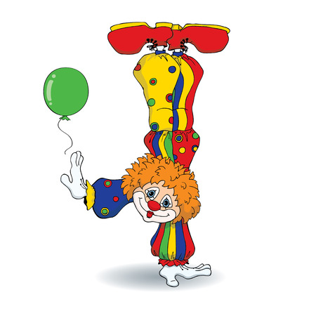 Vector illustration of cute cartoon redhead clown standing on his hand. Isolated on a white background. Ilustração