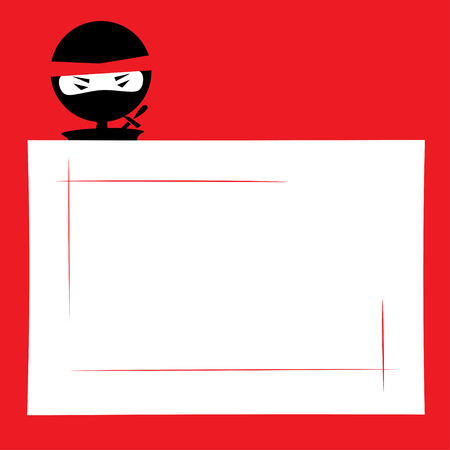 Vector illustration of a cartoon ninja hiding and spying. Place for text on a white background. Red, black and white colors.