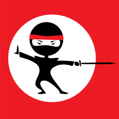 Vector illustration of a cartoon ninja holding a sword. Red background with a white circle. Black outfit. Illustration