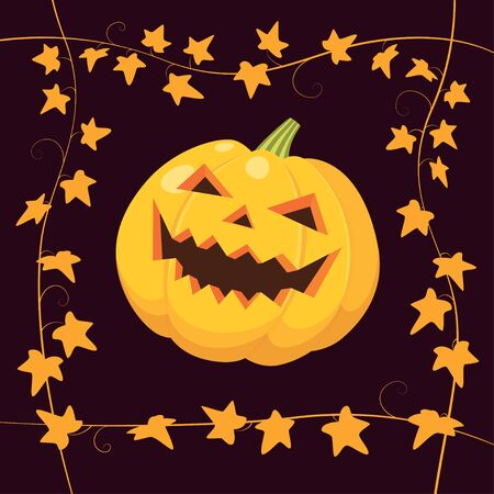 mystique: Vector illustration of laughing Halloween pumpkin on black background with frame made of yellow ivy. Illustration