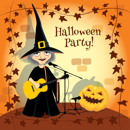 mystique: Halloween concert, party invitation. Vector illustration of cartoon witch and Halloween pumpkin singing into microphones. Orange stone wall on the background and frame made of ivy on the foreground. Illustration