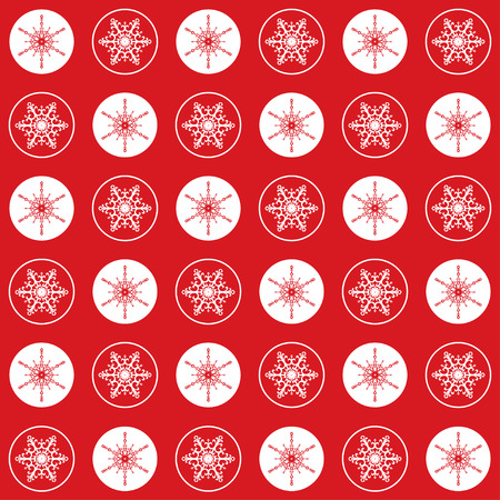refine: Vector Christmas seamless pattern with circles and elegant snowflakes on a red  background. Illustration