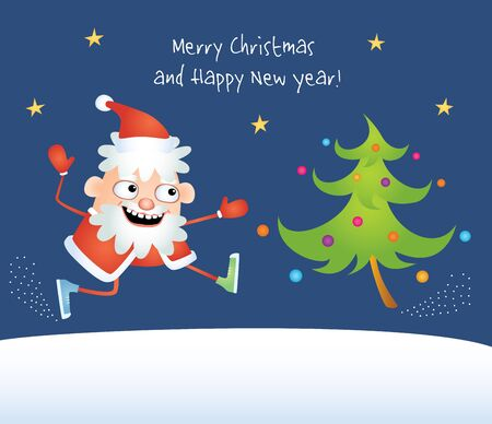comical: Colorful vector comical illustration of a cartoon crazy Santa Claus dancing with a decorated Christmas Tree. Design for greeting card with text Merry Christmas and Happy New Year.