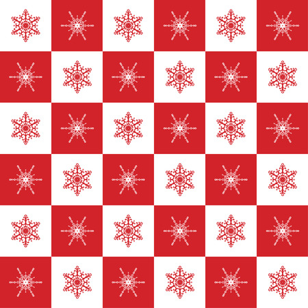 chequer: Vector Christmas seamless pattern with elegant snowflakes on a white and red chequered background.