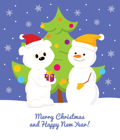 Colorful vector Christmas and New Year greeting card design with a cartoon cute baby polar bear giving a present to snowman. Blue sky with snowflakes and decorated christmas tree on the background.