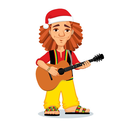 guy playing guitar: Vector Christmas illustration of rastaman playing acoustic guitar. Cute cartoon rastafarian guy with dreadlocks wearing red shirt, yellow pants, black west and red Santa Claus hat. Isolated on a white background.