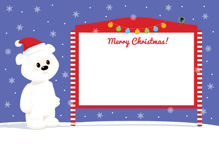 tomtit: Colorful vector cartoon illustration of a cute baby polar bear standing near red and white blank street bulletin board. Blue sky with white snowflakes on the background. Place for text on a white background.