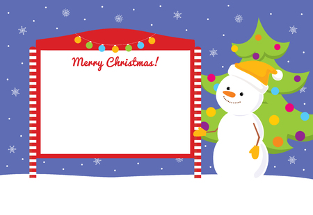 decorated christmas tree: Colorful vector cartoon illustration of a cute snowman standing near red and white blank street notice board. Blue sky with snowflakes and decorated christmas tree on the background. Place for text on a white background. Illustration