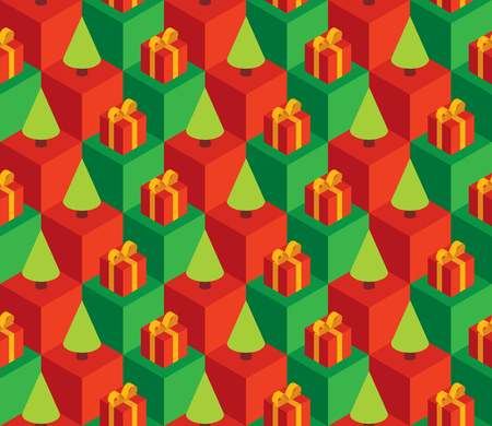 gift pattern: Vector seamless pattern with isometric cubes, red gift boxes and green Christmas trees.