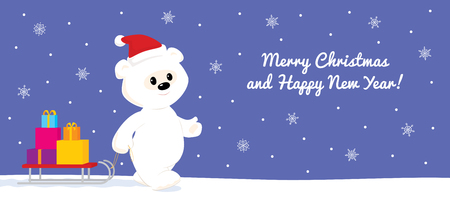 snow sled: Colorful vector illustration of a cute cartoon baby polar bear walking on snow and carrying presents on a sled. Blue background with white snowflakes. Design for greeting card with text Merry Christmas and Happy New Year. Long horizontal format.