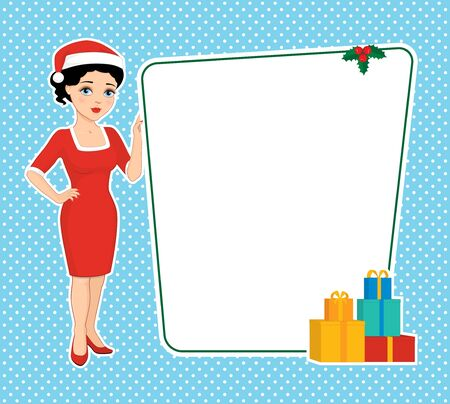 gaine: Vector illustration of a cartoon beautiful brunette with blue eyes in a red sheath dress and santa hat holding a blank board. Place for text on a white background. Retro style. Illustration