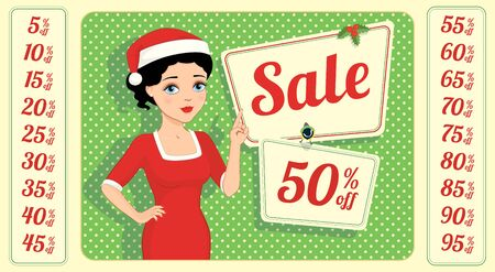 girl in red dress: Vector illustration of a cartoon beautiful brunette with blue eyes in a red sheath dress and santa hat holding a blank board. Place for text on a white background. Retro style. Illustration