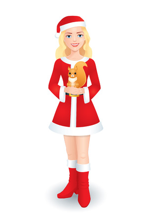squirrel isolated: Vector three dimensional illustration of a nice beautiful blonde girl in a Christmas Santa costume holding a squirrel. Isolated on white.