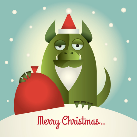 Vector illustration of a green monster with santa beard and hat holding a red sack. Text:  Merry Christmas. Retro style.