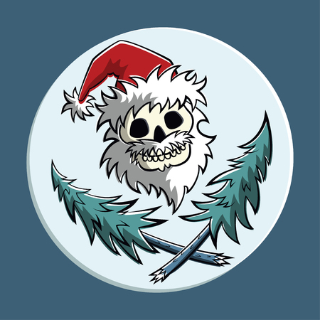 horror: Vector comic piratic symbol of a skull in Santa Claus hat with two crossed christmas trees. Square format.