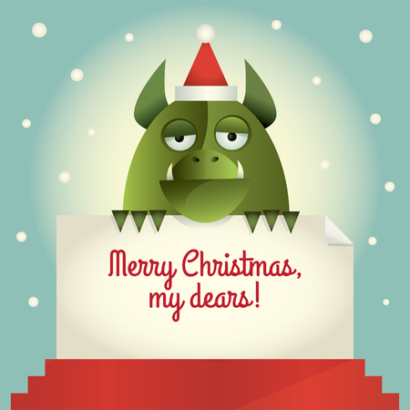 animal teeth: Vector illustration of a green monster holding a banner with greetings Merry Christmas, my dears. Retro style. Illustration