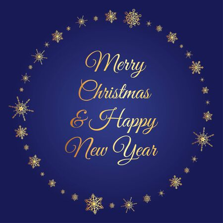 knightly: Vector deep blue square background with frame of elegant golden snowflakes and script type text: Merry Christmas  Happy New Year.