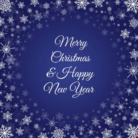 Vector deep blue square background with frame of elegant white snowflakes and script type text: Merry Christmas  Happy New Year.