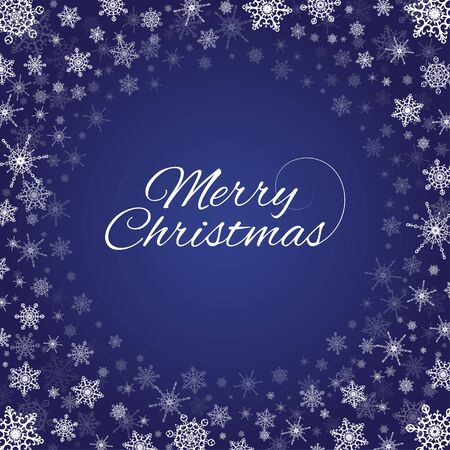 Vector deep blue square background with frame of elegant gold snowflakes and script type text: Merry Christmas.